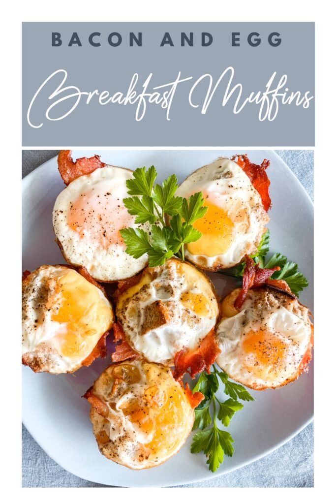 pinterest image of bacon and eggs breakfast muffins