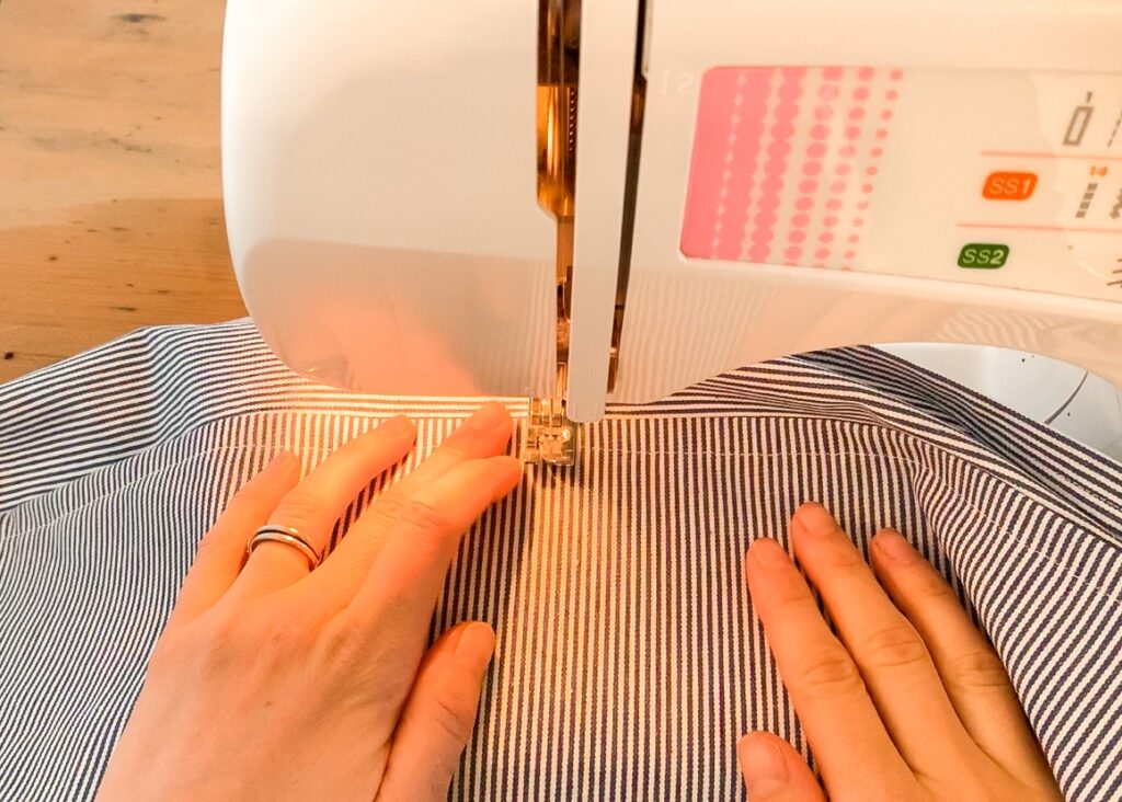 Sewing the pocket in half
